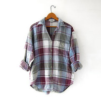 Vintage Plaid Shirt. Textured Cotton Button Up Shirt. Preppy Thermo Shirt.