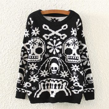 Casual Autumn Winter Clothing Full Sleeve Skulls Pattern Round Neck Knitted Pullovers Sweater For Women