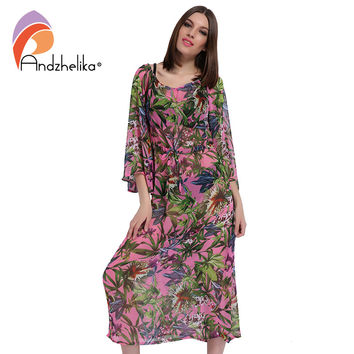 Andzhelika 2017 New Beach Cover Up Women Print Chiffon A long transparent beach dress Swimwear Cover Up Dress Beach Wear