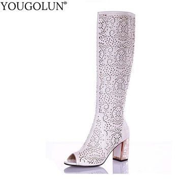 YOUGOLUN Women Summer Knee High Boots Hollow Crystal Thick Heel 7.5 cm High Heels Peep toe Blue White Black Shoes #H-273