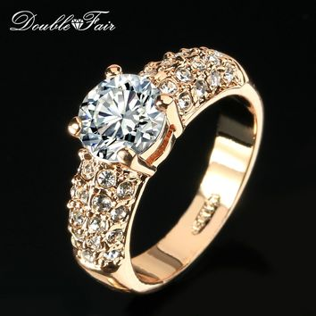 Double Fair Engagement Wedding Rings Cubic Zirconia Silver/Rose Gold