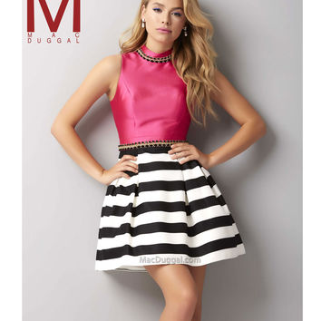 Mac Duggal 30123 Black & Fuchsia Striped Color Block Sleeveless Short Dress 2015 Homecoming Dresses