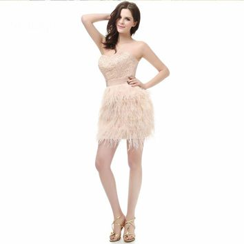 Sweetheart Beaded Mini Cocktail dresses ostrich feather short dresses
