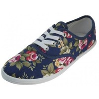 Womens Lace Up Canvas Shoes,6 B(M) US,Navy Flowers 324