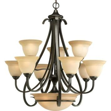 Progress Lighting, Torino Collection 9-Light Forged Bronze Chandelier, P4418-77 at The Home Depot - Tablet