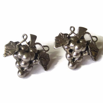 Vintage Mexican Grape Cluster Earrings Sterling Pierced Ears