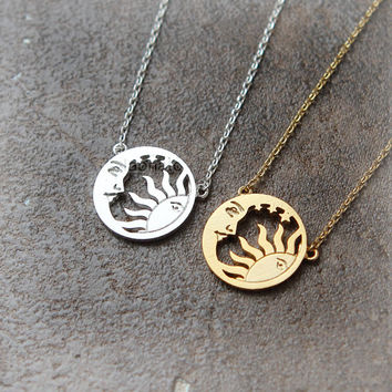 Sun and Moon necklace / sun and crescent moon necklace
