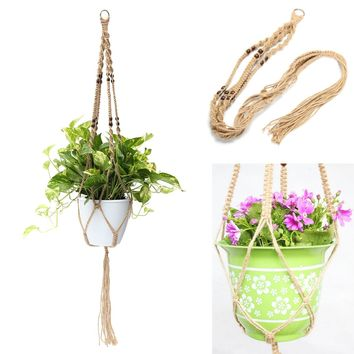 KiWarm Hot Sale 1Pcs Plant Hanger Macrame Jute Rope Hanging Pots Basket Planter Holder Balcony Macrame Cord Rope