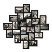 "Adeco Black Wood Wall Hanging Picture Photo Frame Collage, 24 Openings, 4x6"" Clustered"