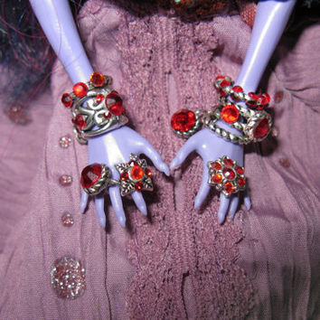 "Monster doll jewelry high fashion set ""Ruby Enchantress"" bangles and rings ever after sixth scale dollhouse miniature  accessories clothes 6"