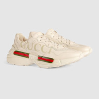 Gucci - Rhyton Gucci logo leather sneaker