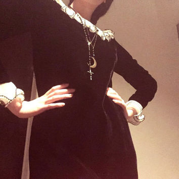 Vintage 60s Party Dress - mini dress - black velvet - goth dress - Wednesday Addams - go go dress - S M