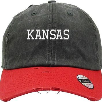 KANSAS Distressed Baseball Hat