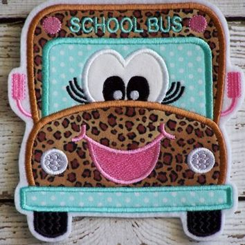 Girl School Bus, Machine Embroidered, Fabric Iron On Applique Patch