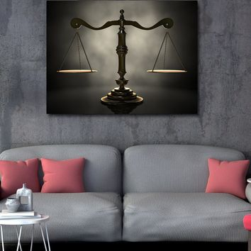Scales of Justice Canvas Wall Art, Lawyer Office Decor, Attorney Print,