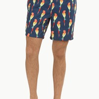 Parrot Print Pull On Swim Shorts