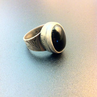 Beautiful sterling silver and onyx ring- man statement ring- bohemian ring- artisan jewelry- greek art