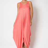 D4298 Sleeveless Round Neck Draped Handkerchief Hanky Hem Loose Fit Harem Maxi Dress (Made in USA)