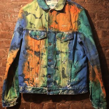 Off White Distressed Denim Jacket Tie Dye Pre-Owned