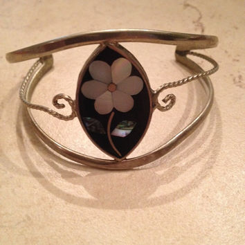 Vintage Alpaca Silver Cuff Bracelet Black Mother of Pearl Flower Inlay Mexican Boho Jewelry