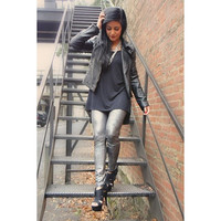 Silver Crackle Leggings