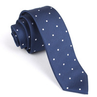 Mens Skinny Tie 6CM Navy Blue Polka Dots (X517-ST6) Ties Thin Narrow Slim Men Neckties Necktie Wedding Formal Suit Australia Melbourne