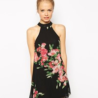 Fashion Union Dress With High Neck In Floral Print