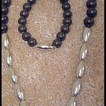 "His ""Cross to Bare"" Black Agate / Silver Czech Glass Beaded Necklace Set"