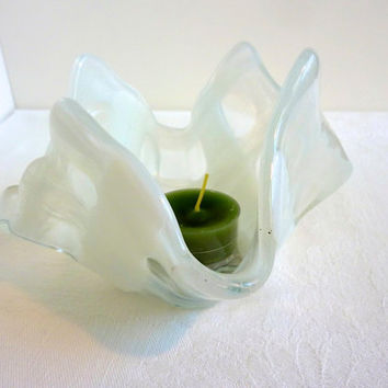Glass Votive Candle Holder in White and Clear Weave by bprdesigns
