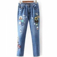 Patched Distressed Jeans - Denim Blue M