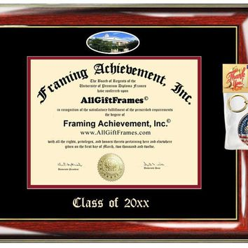AllGiftFrames Custom Diploma Frame Embossed Illinois State University Best Graduation Degree ISU Frame Double Mat Campus Fisheye Picture Frame Cheap Degree Graduate Gift