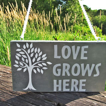 Love Grows Here Wall Art, Family Sign, Wall Decor, Wood Sign, Wall Hanging, Home Decor, Hanging Wooden Sign, Decorative Sign