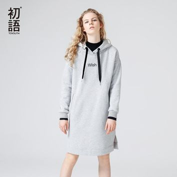 Toyouth Hoodies Dresses Women Winter Fleece Split Hooded Dress Letter Printed Long Sleeve Vestidos Mujer Gray Sweatshirt Robe
