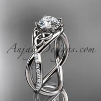 "platinum celtic trinity knot engagement ring, wedding ring with a ""Forever Brilliant"" Moissanite center stone CT790"