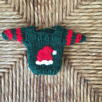 Santa Hat Ornament, hand-knit mini sweater ornament with Santa Claus hat applique, Xmas Tree Decor, Old fashioned xmas, Gift Topper Handmade