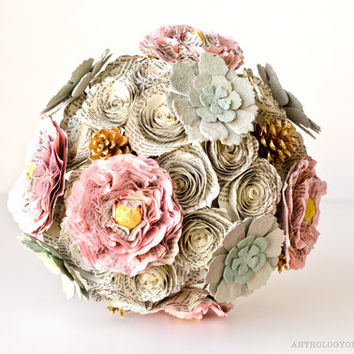 Winter Bridal Bouquet with Peonies, Roses, Succulents, Pinecones - IN YOUR COLORS - Eco Friendly Woodlands Book Page Wedding Flowers