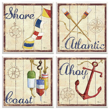 Beach coasters, Nautical home decor, Atlantic, coast, Ahoy, Shore, Nautical Coasters, beach house decor, beach cottage, anchor decor, rustic