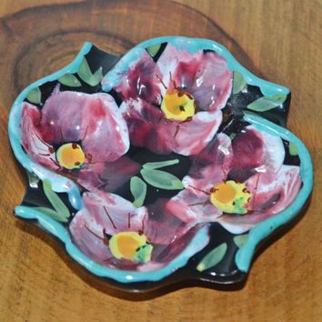 Vintage Hand Painted Ashtray, Made In Italy, Hand Made Dish