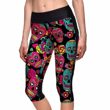 Red Skull Print Women Halloween Sports Pants Capris S To 4xl 2017 New Arrival Gym Capris Trousers