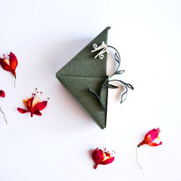 Unique Origami Jewelry Gift Box,  Small Origami Gift Box with Quilling Ornament, Green and White