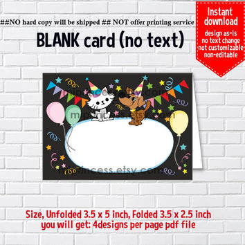 Instant Download, blank Card, #781 cat, dog kitten, favor food tent Card, place card, 3.5x2.5inch printable , non-editable NOT CUSTOMIZABLE