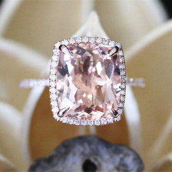 Classical Morganite Engagement Ring,VS 10*12mm Cushion Cut Morganite Ring,Halo Diamonds,Half Eternity,14K Rose Gold Ring,5ct Big Stone Ring