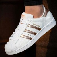Adidas Shell-toe Trending Women Men Caaual Flats Sneakers Sport Shoes White Rose Gold Line I