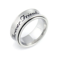 "Spinner Ring - Friend Ring Engraved with ""Forever Friends"", Sizes 6 to 9"