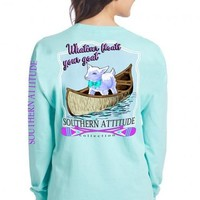 Southern Attitude Preppy Floats Your  Goat Canoe Paddles Long Sleeve T-Shirt