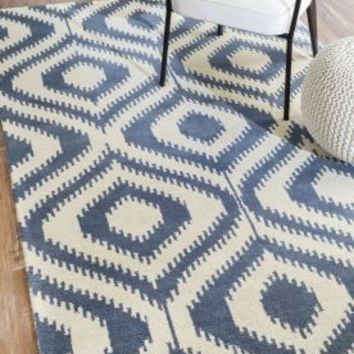Rugs USA Savanna Ikat Lattice VE12 Blue Rug