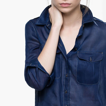 DENIM AND RAMIE SHIRT - View all - Shirts & Blouses - WOMEN - España (Excepto Canarias)/Spain (except the Canary Islands)