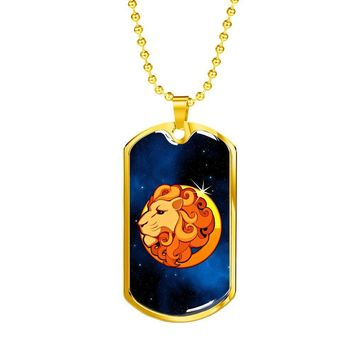 Zodiac Sign Leo - 18k Gold Finished Luxury Dog Tag Necklace 090c47f30