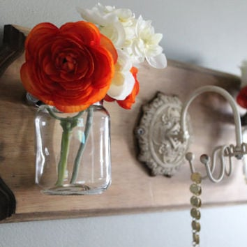 Jewelry Organizer, mason jar, flower vase, wall décor