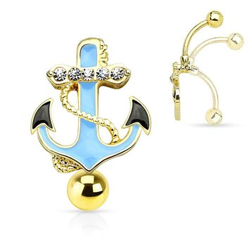 Anchor Drop Belly Ring 14G (1.6mm)